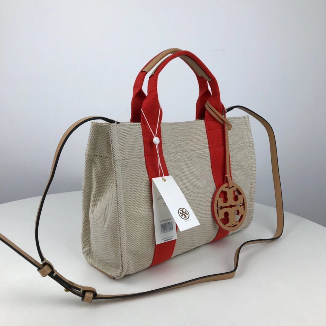 TORY BURCH MILLER CANVAS MINI TOTE Natural/Poppy