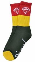 Diamond Supply Co Rasta Rock Sock Red Yellow Green Jamaican Cotton Crew Socks