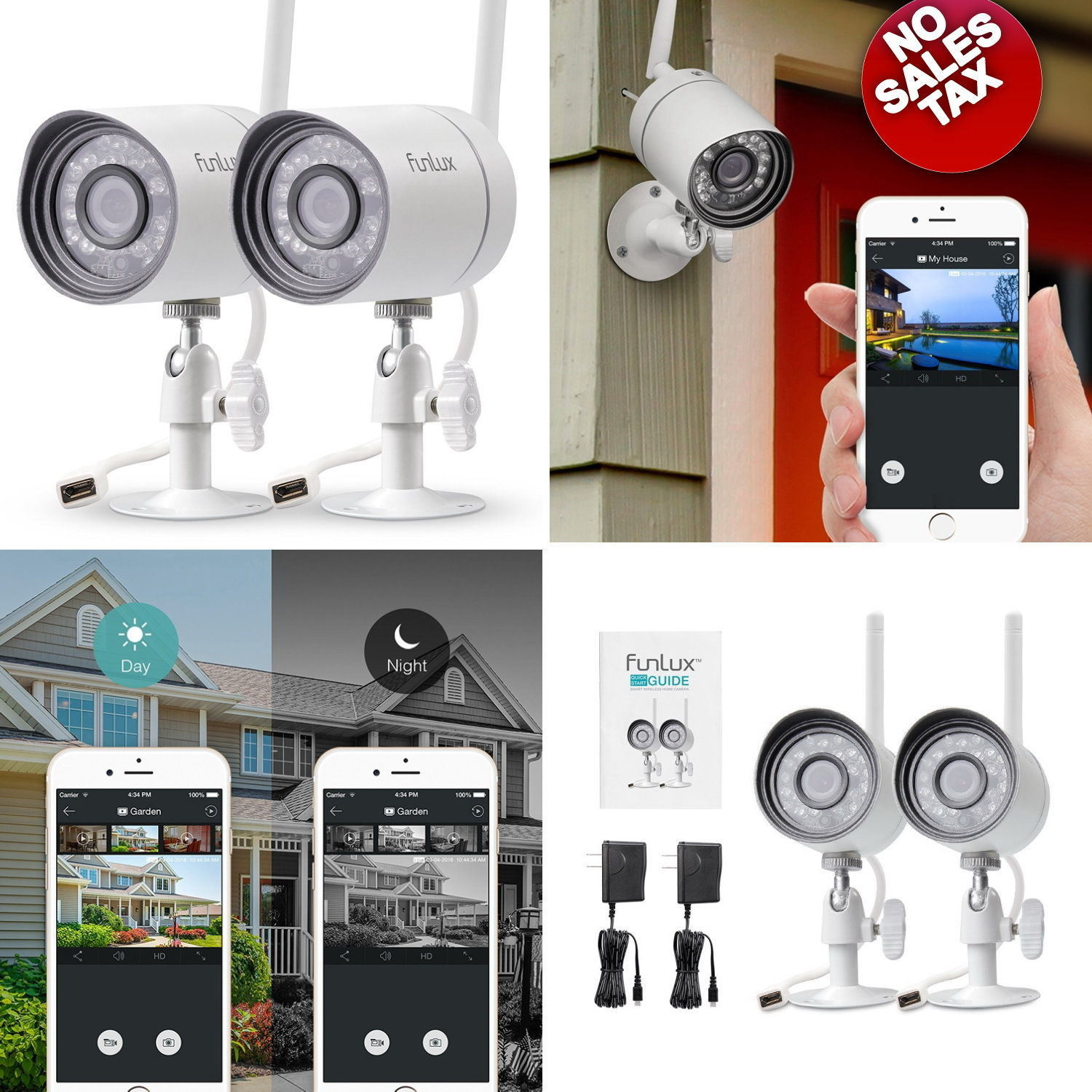 Home Wireless Security Video Camera Surveillance 720 HD Night Vision App 2 Pack for sale  USA