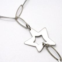 925 Silver Necklace, Oval Chain, Double Star Pendant worked, Satin image 4