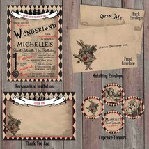 Vintage Alice in Wonderland Party Package, Personalized, Baby Shower, Birthday - $29.70