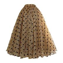 Full Long Tulle Skirt High Waisted Polka Dot Tulle Skirt Outfit Plus Size Puffy image 8