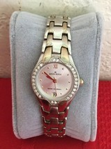 Anne Klein Women's Watch Silver Tone Case Crystal Bezel Date 10/6927 - $25.00
