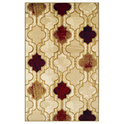 Modern Moroccan 5' X 8' Trellis Area Rug Trellis Cream Burgundy Gold Beige Carpe