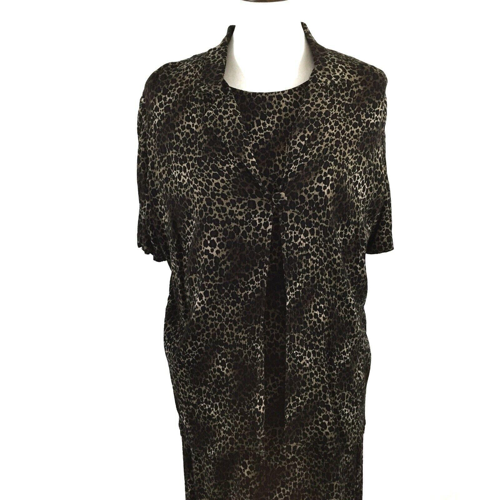 KSL Karin Stevens Sleeveless Maxi Dress and Jacket Size 14W Brown Animal Print image 2