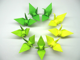100 Large Green 3 Shades Color Origami Cranes - $25.00