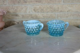 Vintage Light Blue Hobnail Minature Fenton Cream and Open Sugar Bowl Set... - $14.55