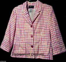 SAG HARBOR Petite Jacket 6 6P P Pink Blazer Lined Career Novelty Slubs - $33.00