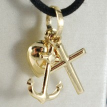 18K YELLOW GOLD FAITH HOPE CHARITY PENDANT CHARM 20 MM SMOOTH MADE IN ITALY - $99.00