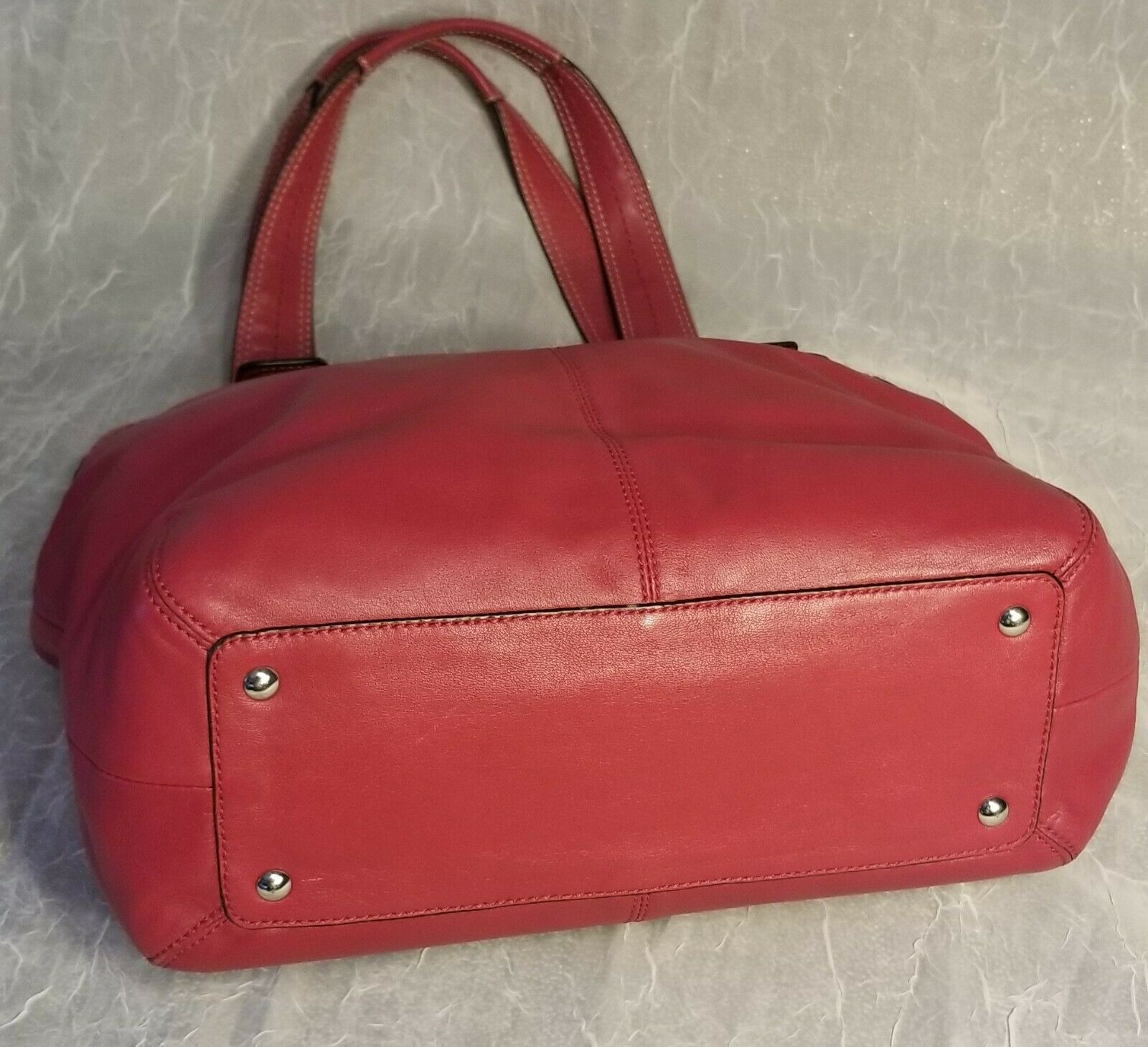 Genuine Leather Coach Shoulder Bag Red with Silver Hardware G1060-F15045