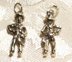 Sterling Silver 20x10mm Cowboy with Lasso Hat Boot Rodeo Charm image 1