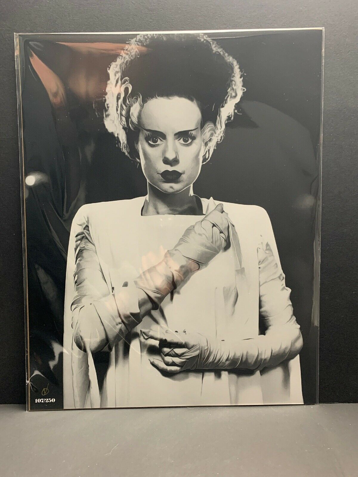 Primary image for The Bride of Frankenstein 14x11 B&W Print Famous Monsters  RARE 107/250 BAM COA