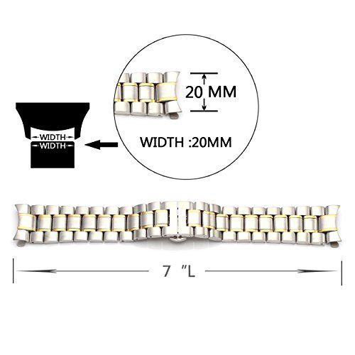 Top Plaza Solid Stainless Steel Curved End Link Bracelet (22mm|Silver&Gold)