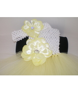 BABY GIRL LONG YELLOW AND WHITE TUTU DRESS WITH MATCHING HEADBAND PHOTO ... - $18.00