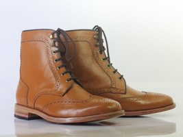 Handmade Men's Ankle High Tan Wing Tip Brogue Shoes, Men Leather Lace Up... - €148,12 EUR+