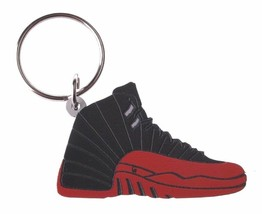 Good Wood NYC Flu Game Black/Red AJ12 12 Keychain XII Shoe Key Ring key Fob image 1
