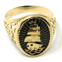18K YELLOW GOLD BAND MAN RING, SAILING CLIPPER SHIP, FINELY WORKED, BLACK ENAMEL image 1