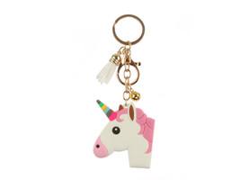 Unicorn Head Tassel Faux Suede & Rubber Key Chain Handbag Charm - $9.95