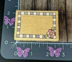 Rubber Stampede Checkerboard Label Flower Corner Rubber Stamp Frame #A101 - $7.42