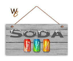SODAS Sign, Retro Summer Party Sign, Potluck Event, Gray 5x10 Wood Sign - $11.39
