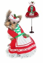 Holiday Dog Dress Holly Christmas Lace Petticoat Skirt & Bonnet Red Whit... - $37.51+