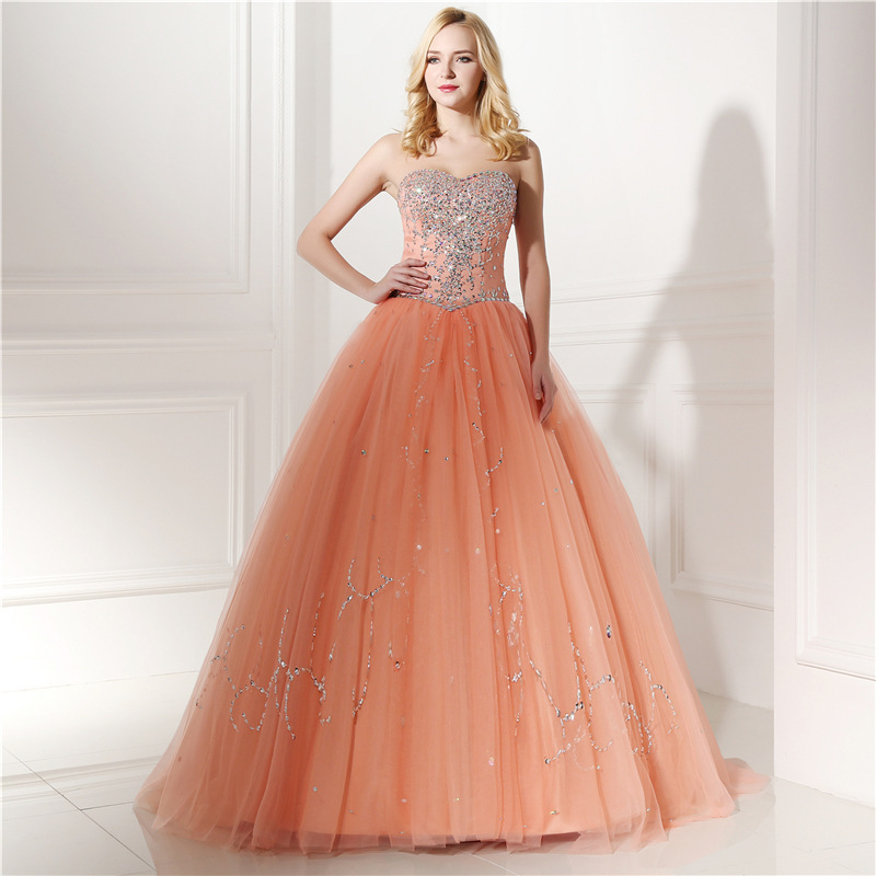 2018 Sweetheart Ball Gown Long Prom Dresses Formal Gown Beaded Quinceanera Dress - $163.00