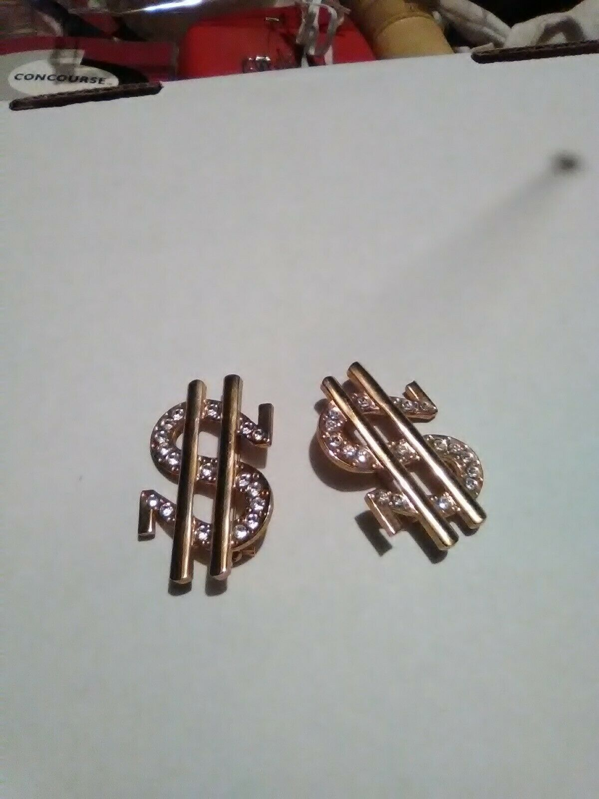 Primary image for VINTAGE GOLDEN PIN BROOCH PAIR (2 PINS) RHINESTONE ACCENTED $ DOLLAR SIGN