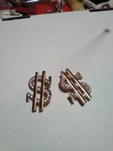 VINTAGE GOLDEN PIN BROOCH PAIR (2 PINS) RHINESTONE ACCENTED $ DOLLAR SIGN - $30.00