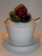 Vintage Portugal Soup Tureen Ladel Lid & Underplate Art Pottery Tureen - $41.16