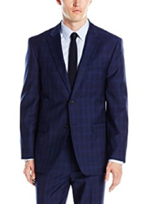 Primary image for ommy Hilfiger Men's Vasser Blue Plaid Stretch Performance Jacket, Size 42L