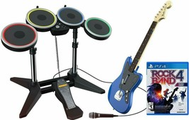PS4 Rock Band 4 Rivals COMPLETE Band Fender Jaguar Blue Guitar Drums Mic... - $395.99
