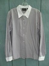 Liz Claiborne Women's Size 12 100% Cotton Long Sleeve Button Front Blouse - $20.80