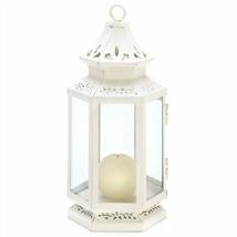 Medium Victorian White Metal Candle Lantern - $9.51