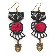 Steampunk Black Velvet & Lace with Satin Rose Victorian Dangle Earrings Red Rose