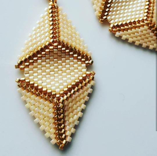 Gold Cream Triangle Peyote Earrings, Boho Style Beaded Dangle Earrings, Wife Gif