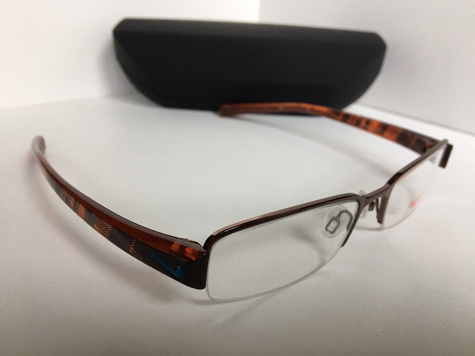 New Nike NK 8074 206 51mm Semi-Rimless Shiny Bronze Eyeglasses Frame