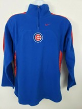 Nike Chicago Cubs Vintage Logo Embroidered Half Zip Fleece Pullover Size XL - $47.51