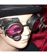 Steampunk Goggles Glasses magnifying lens Pewter red D - $39.99