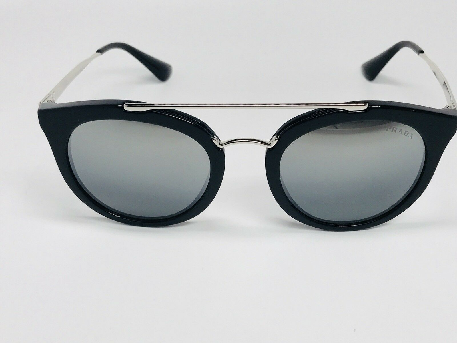 79d787d15e444  New PRADA SPR 23S 1AB-6N2 Black   Silver Sunglasses w Mirror Lens