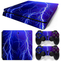 PS4 Slim Skin Console & 2 Controllers Thunder Lightning Decal Vinyl Wrap - $14.82