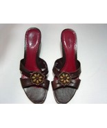 "WOMEN LADIES MERONA WEDGE SANDALS 10 BROWN BEAD 2 1/2"" heel - $13.99"