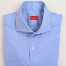 $545 Isaia Slim-Fit Blue Shirt 16.5 x 35 - $94.05