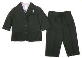 Infant Boy's Suit 4-Piece Long Sleeve Shirt Jacket Pants Tie Starting Out Baby