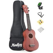 Moukey 4 21'' Basswood Soprano Ukulele Pack with Gig Bag, Tuner, Picks, ... - $59.95