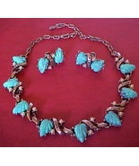 Vintage Faux Turquoise Pearl Southwestern Neckl... - $39.00
