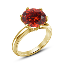 Round Cut Red Garnet Women's Solitaire Engagement & Wedding Ring 14k Gold Plated - $60.25