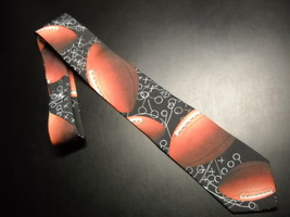 Ralph Marlin Neck Tie Black Chalk Board Background Repeating Footballs and Plays - $10.99