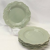 "JCPenney Chris Madden Adalina Green Dinner Plates 11.125"" Lot of 6 - $97.99"