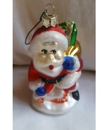 Blown Glass Santa Christmas w gift bag Ornament Pre-owned holiday decora... - $16.78