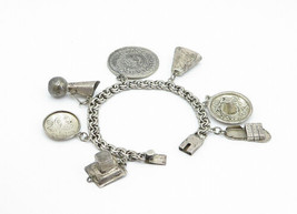MEXICO 925 Silver - Vintage Mayan Sun Calendar Charmed Chain Bracelet - ... - $129.36